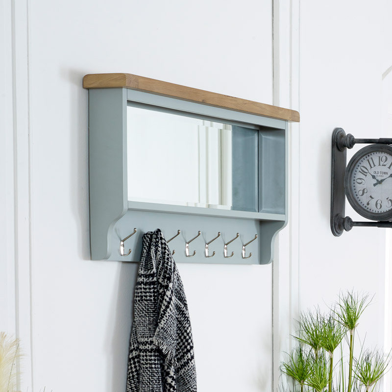 Grey Wall Mirror with Coat Hooks - Rochford Range