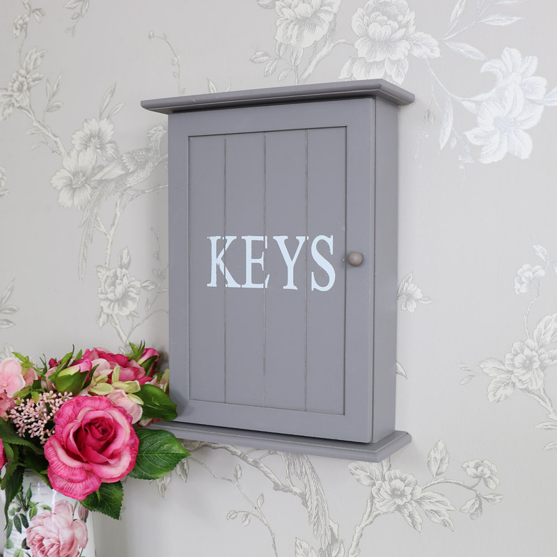 Grey Wall Mounted Wooden Key Cabinet