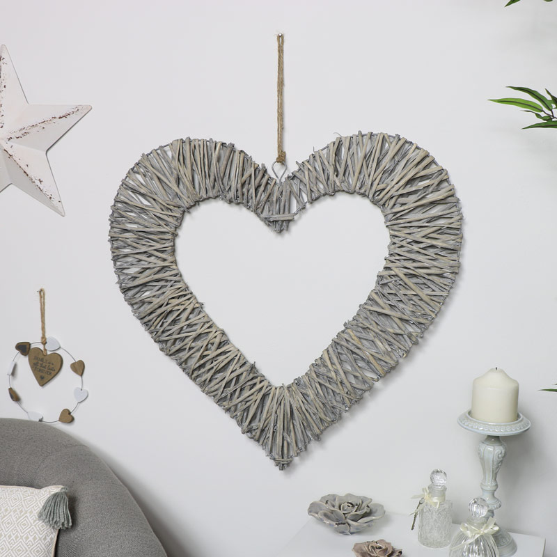 Grey Washed Willow Hanging Heart Decoration