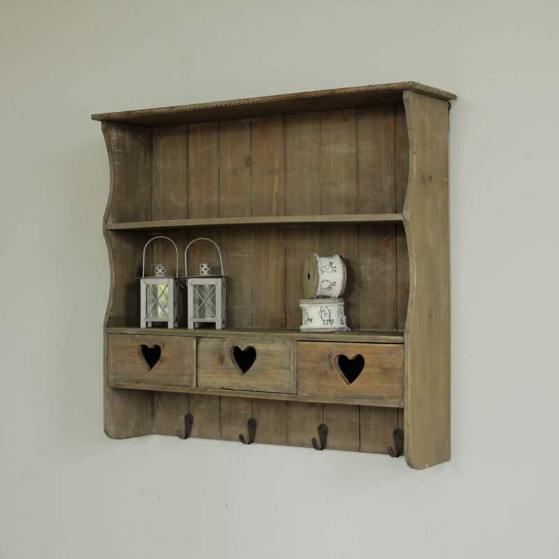 Wooden Heart Wall Storage Shelf Drawers Kitchen Shelves Hooks Shabby Vintage