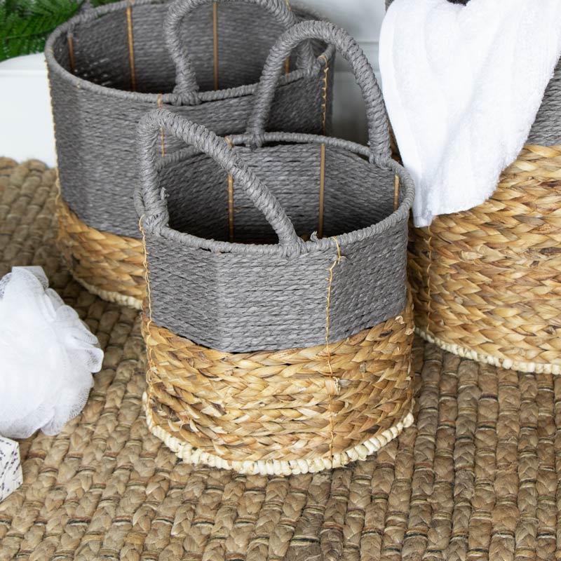 Grey Wicker Basket Storage Set
