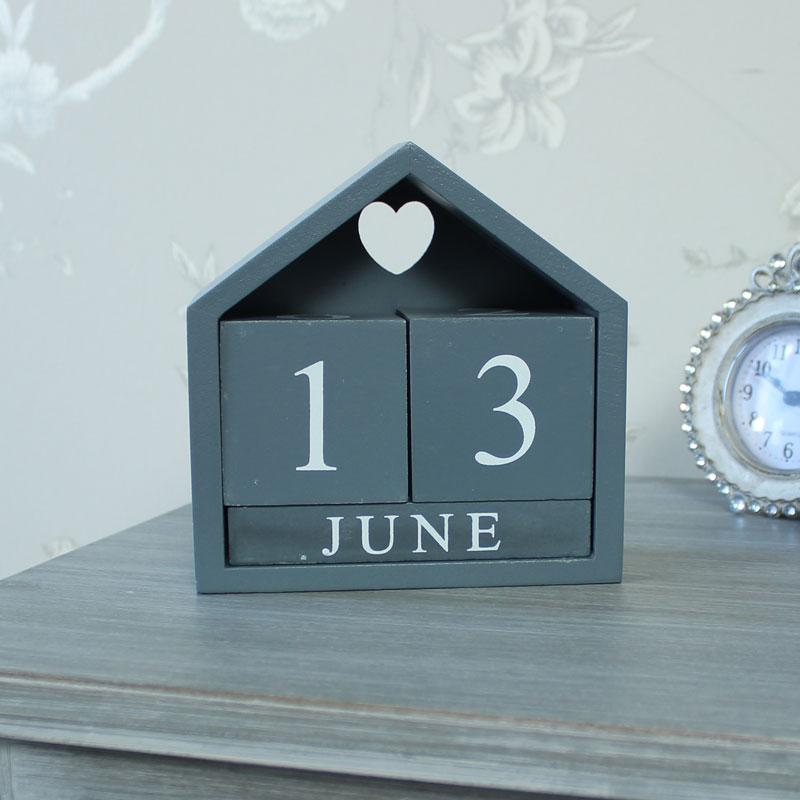 Grey Wooden Perpetual Calendar Melody Maison