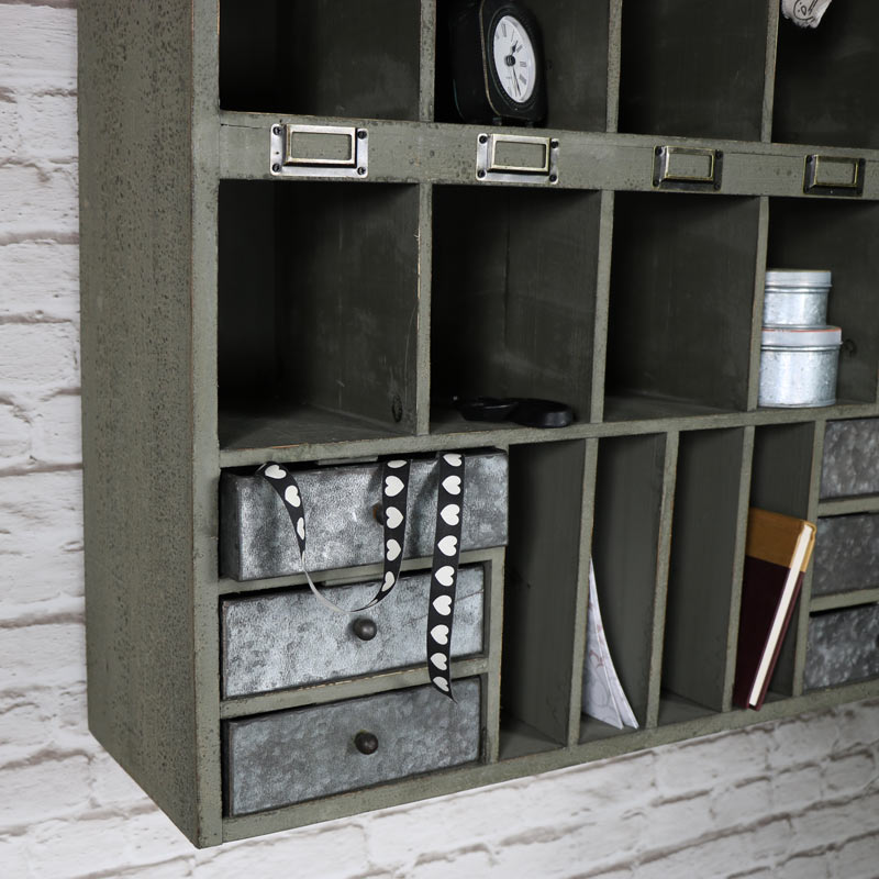 Grey Wooden Pigeon Hole Shelving Unit with Drawer Storage