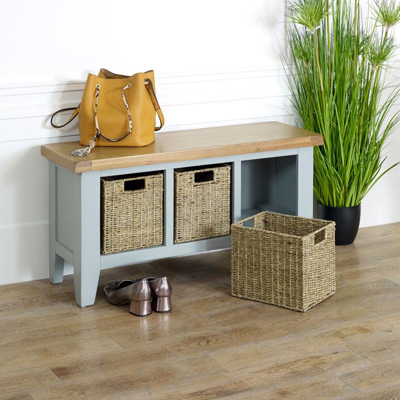 Fantastic Grey Wooden Storage Bench Rochford Range Onthecornerstone Fun Painted Chair Ideas Images Onthecornerstoneorg