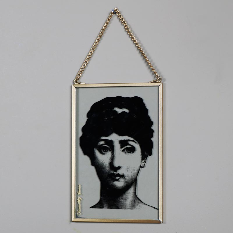 Hanging Glass Boudoir Lady Plaque