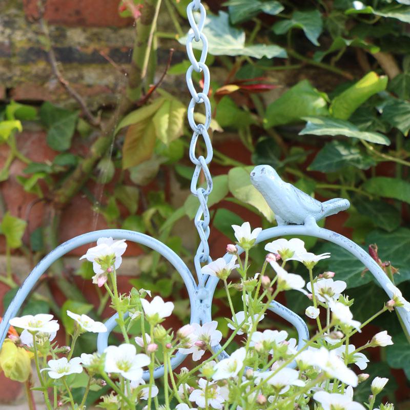 Hanging outdoor Plant Pot - Blue Heart & Bird Design