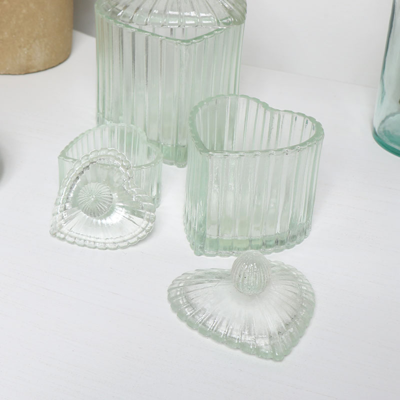 Heart Glass Storage Jars - Set of 3
