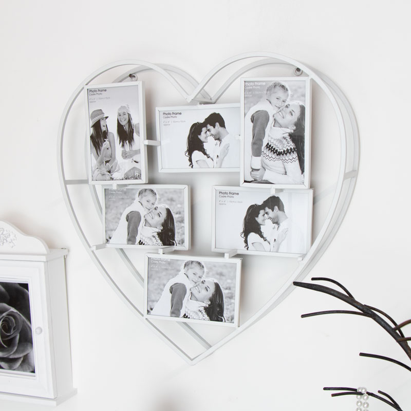 Heart Shaped Wall Mounted Multi Photo Frame