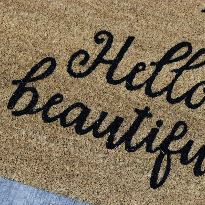'Hello Beautiful' Eyelash Coir Doormat
