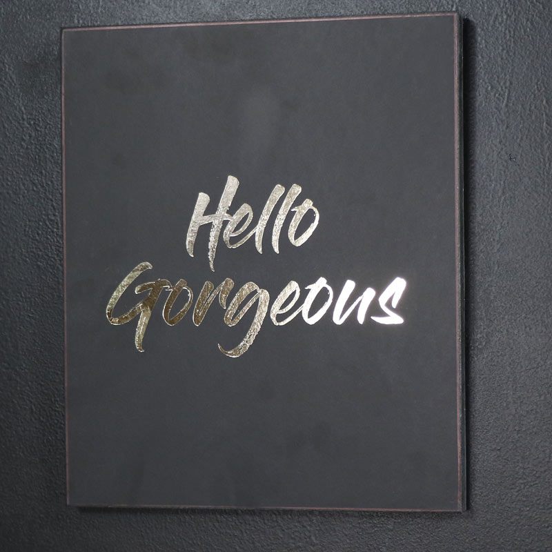 'Hello Gorgeous' Black and Gold Wall Plaque