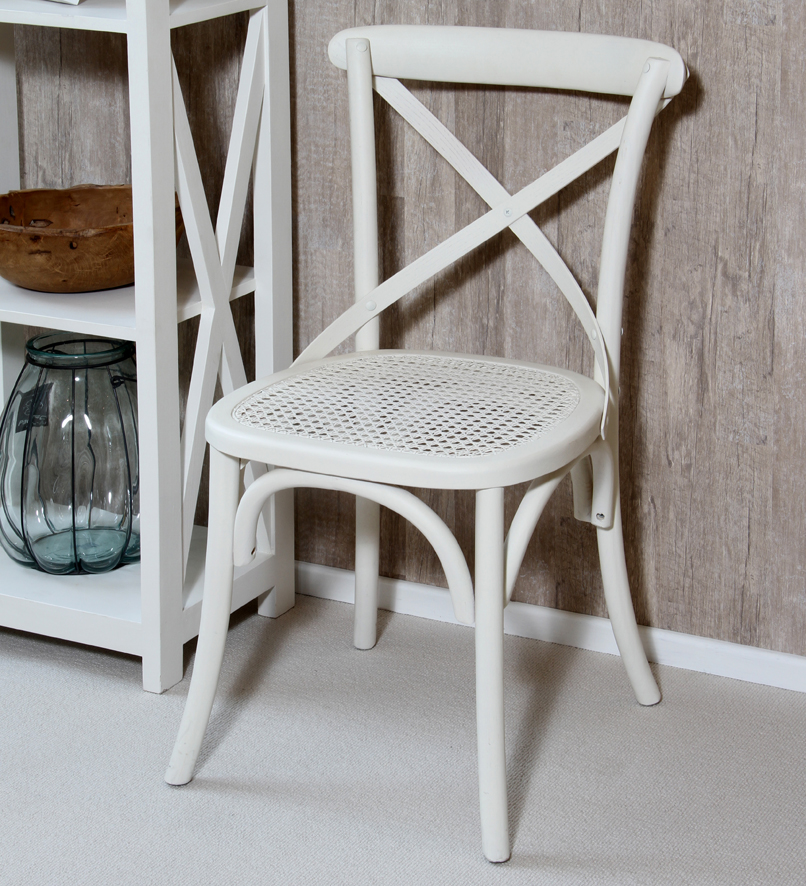 White Wooden Rattan Dining Chair - Melody Maison®
