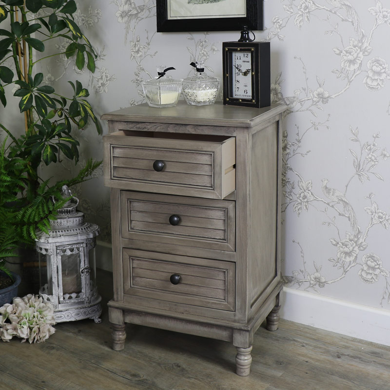 Hornsea Range- Three Drawer Bedside Table