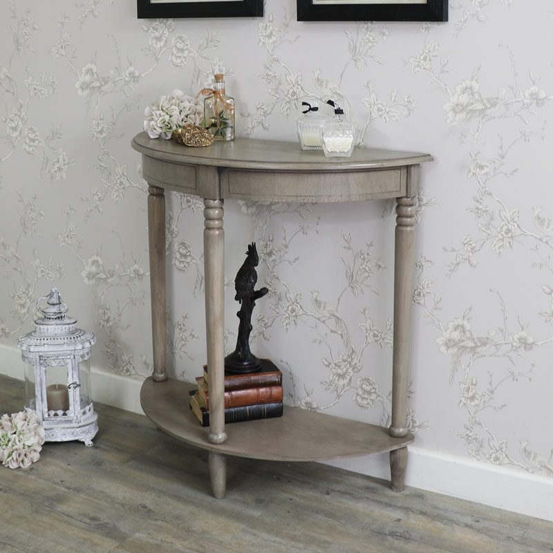 Wooden Half Moon Console Table   Hornsea Range