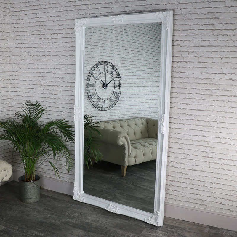 Huge Full Length Ornate White Wall / Leaner Mirror 119cm x 220cm