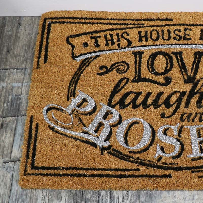 Humorous Door Mat 'This House Runs on Prosecco'