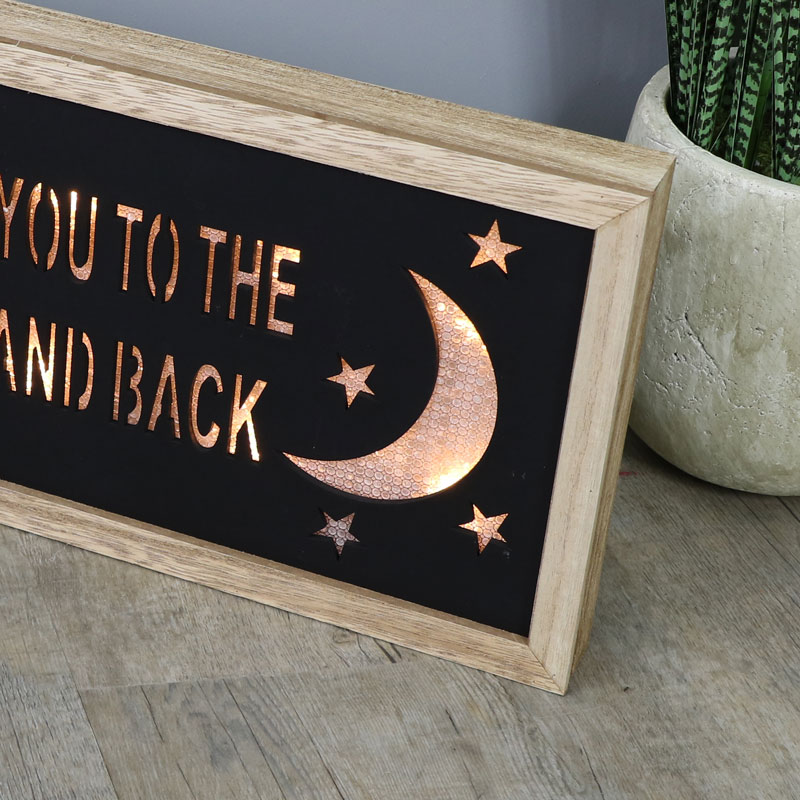 I Love You To The Moon And Back Led Light Up Wall Plaque