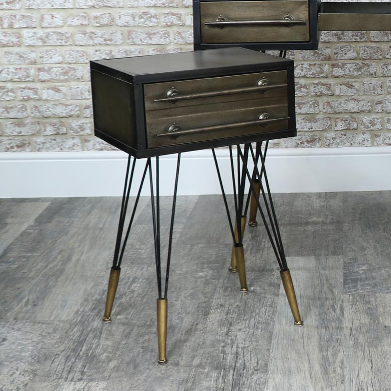 Industrial Dressing Table & Pair of 2 Drawer Bedside Tables