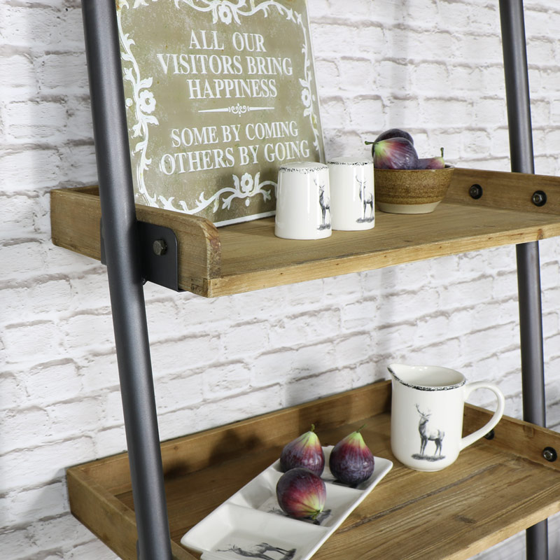 Very best Industrial Ladder Style 5 Shelf Display Unit with 1 Drawer Storage  ZR62