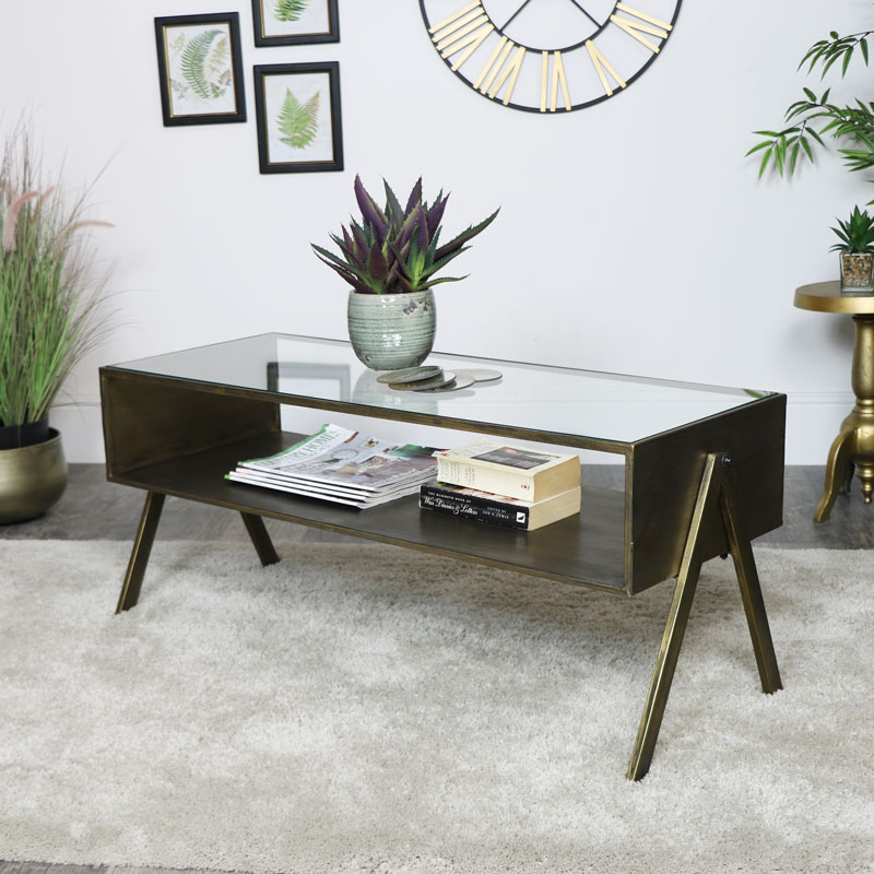 Industrial Metal Glass Coffee Table Tv Cabinet