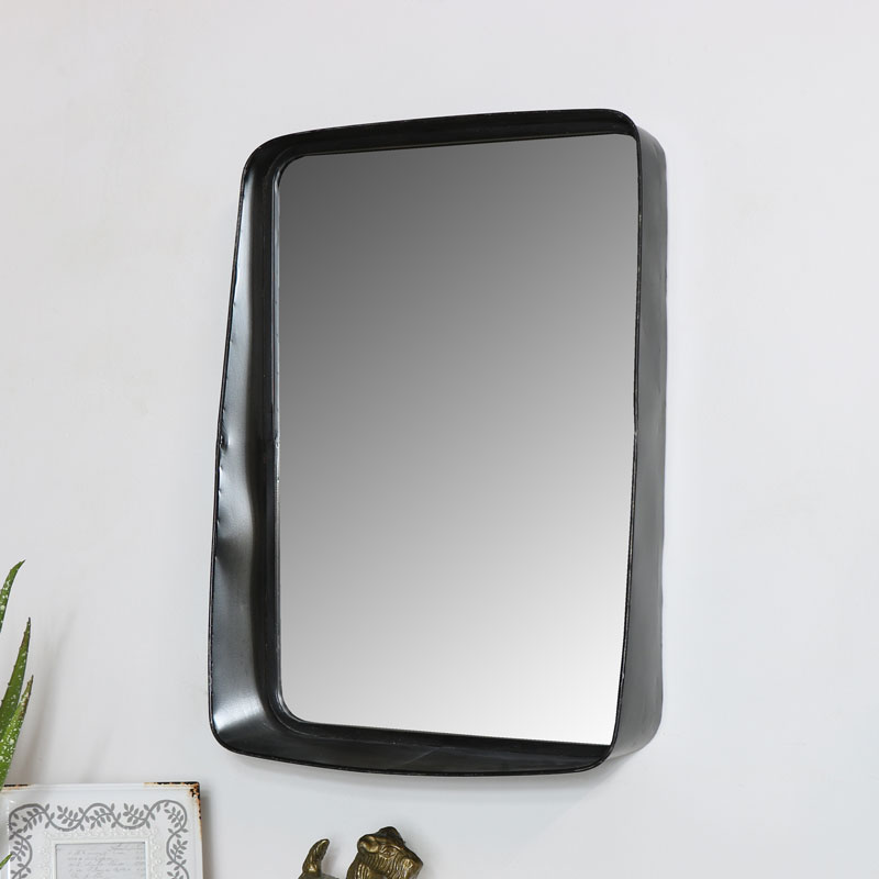 Industrial Metal Wall Mirror with Shelf