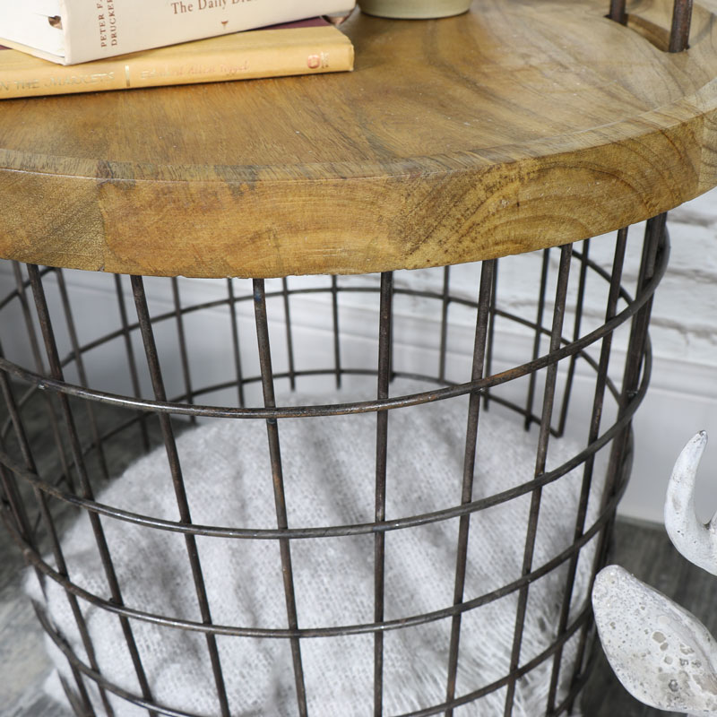 Industrial Retro Style Storage Basket Table