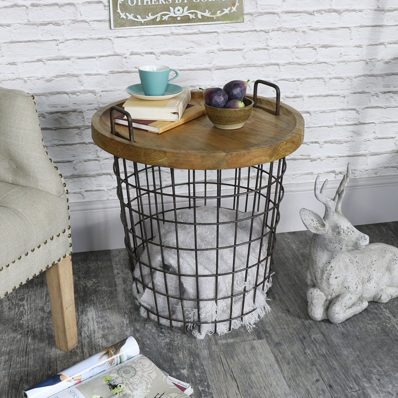 Industrial retro style storage basket table melody maison industrial retro style metal storage basket table greentooth Images