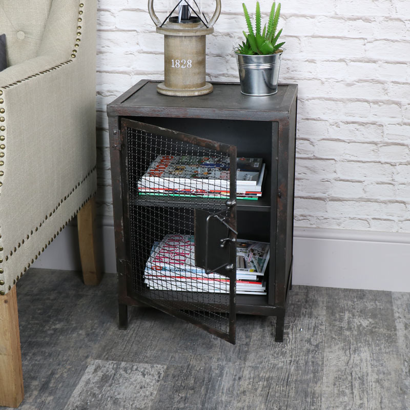 Industrial Rustic Mesh Fronted Bedside Table Cupboard