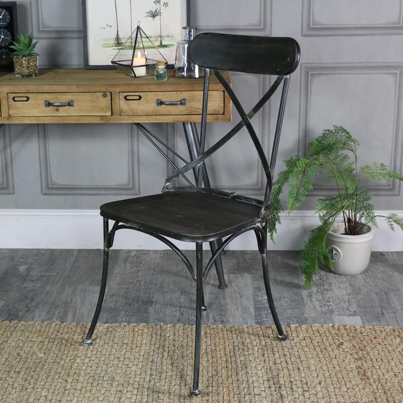 estilo industrial metal negro Silla Cocina Hogar Comedor Dormitorio ...
