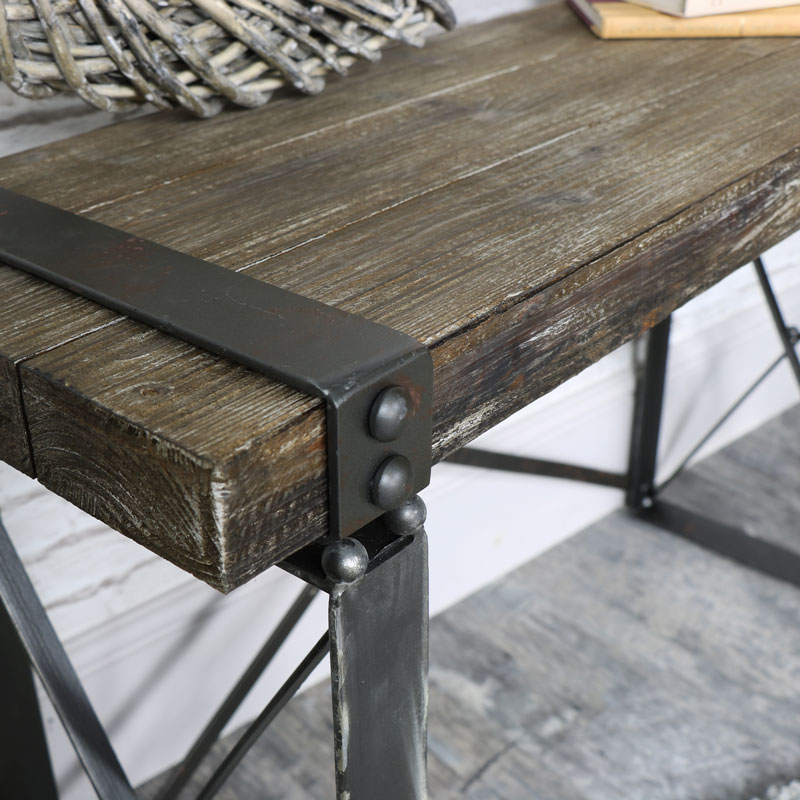 Charmant ... Industrial Style Wooden Desk/Side Table ...