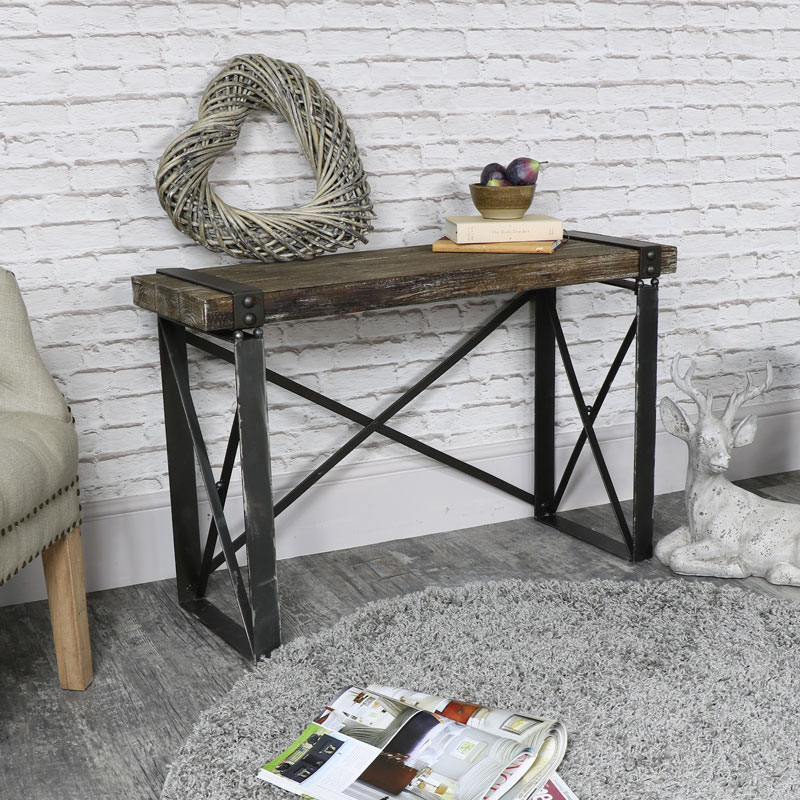 ... Industrial Style Wooden Desk/Side Table ...