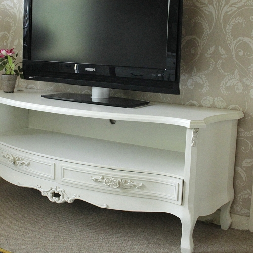 Ivory Cream Two Drawer Tv Cabinet Rose Unit Dvd Television