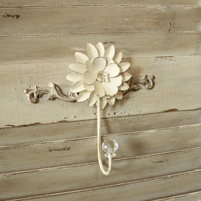Ivory Metal Flower Single Wall Hook