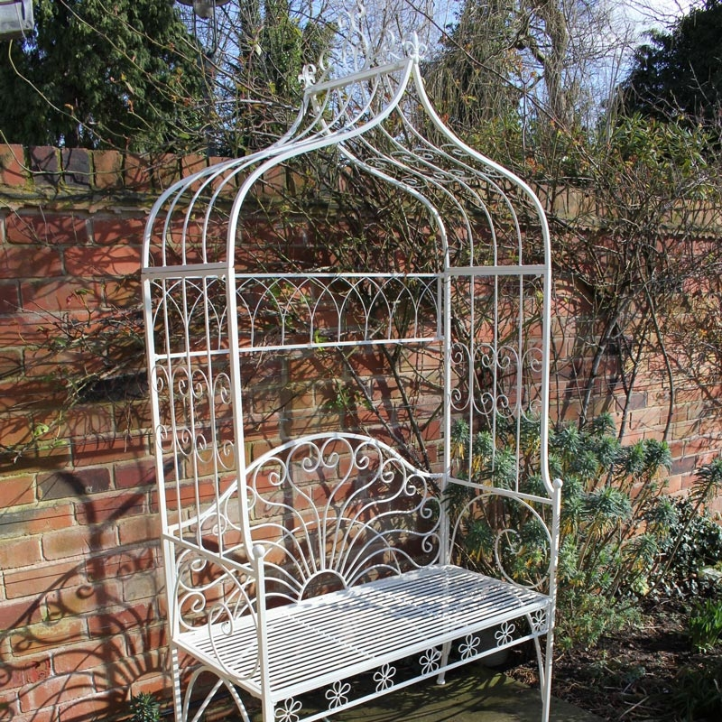 metal ivory garden pergola bench seat with flower canopy ebay. Black Bedroom Furniture Sets. Home Design Ideas