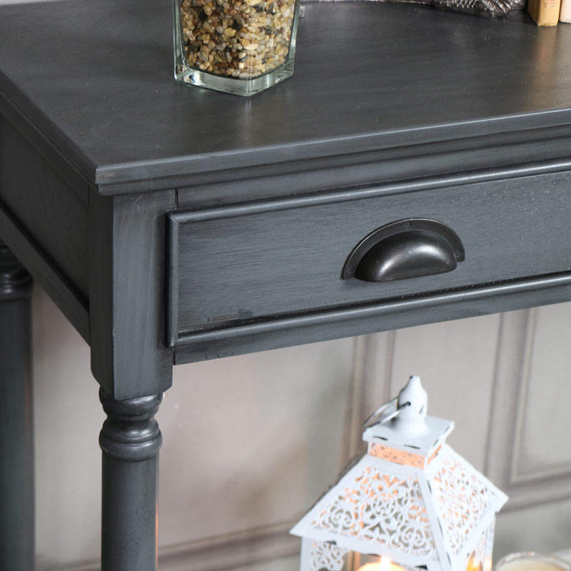 Large 3 Drawer Console Table Dark Grey - Lancaster Range