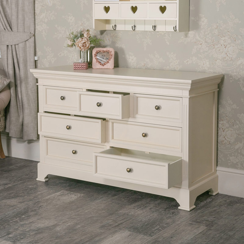 Large cream painted chest of drawers 7 drawer bedroom clothing ...