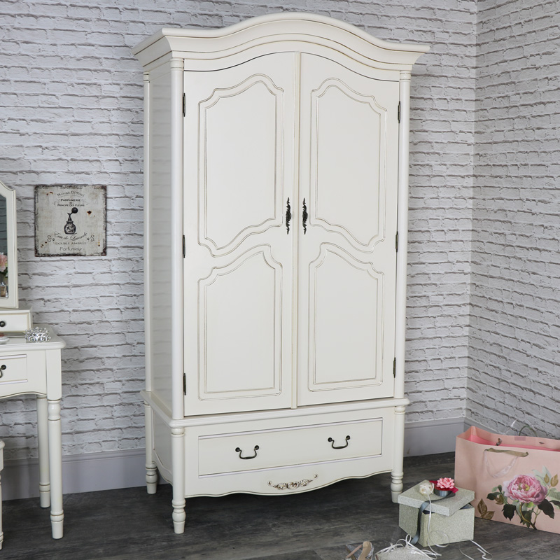 large antique cream armoire style double wardrobe. Black Bedroom Furniture Sets. Home Design Ideas