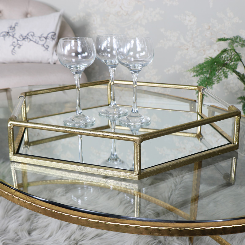 Large Antique Gold Hexagonal Mirrored Cocktail Tray