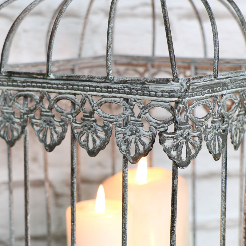 Large Antique Grey Birdcage Lantern Candle Holder
