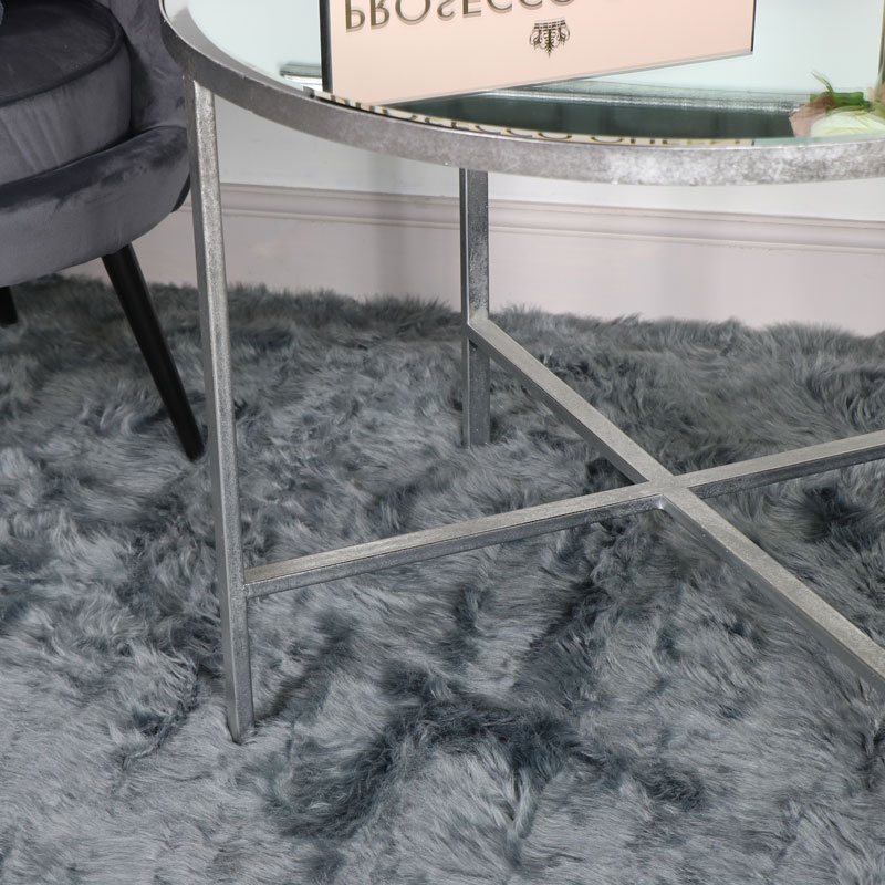 Large Silver Round Mirrored Side Table