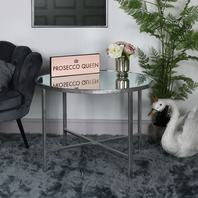 Silver Round Mirrored Side Table