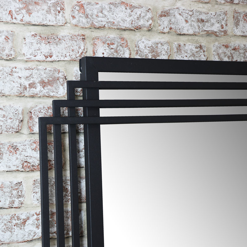 Black Wall Art: Large Art Deco Style Wall /Leaner Mirror 66cm X 183cm