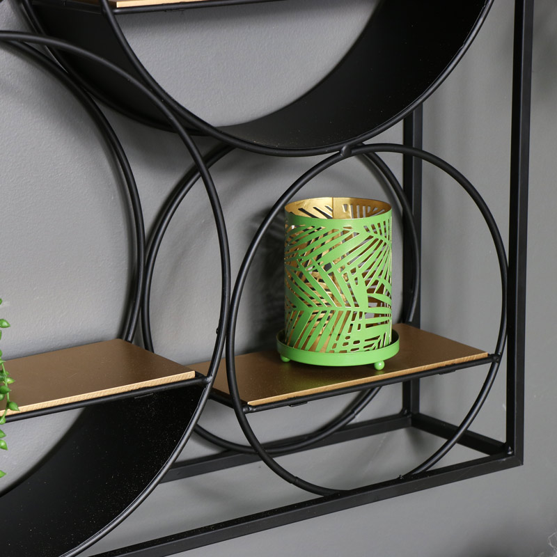 Large Black and Copper Wall Unit