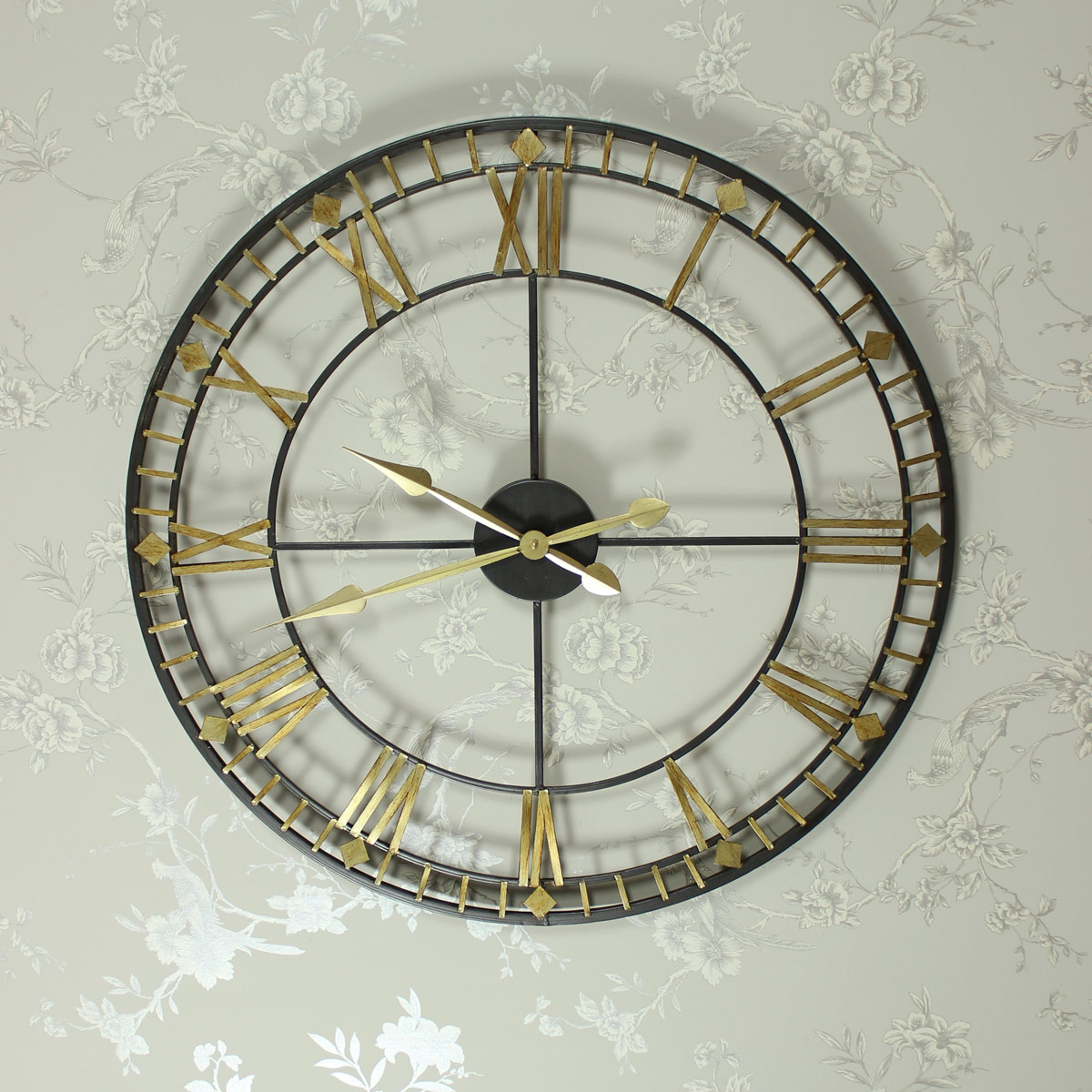 Charming ... Large Black And Gold Skeleton Wall Clock ...