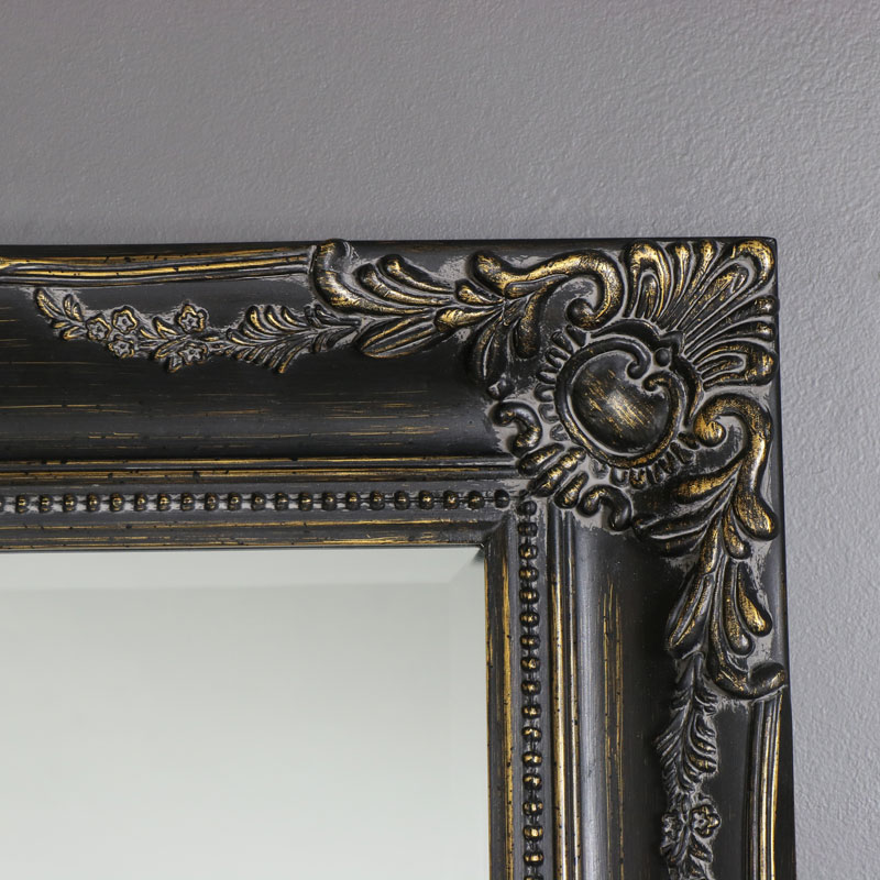 46081c3c60eb8 Large Black Distressed Ornate Mirror 158cm x 79cm - Melody Maison®