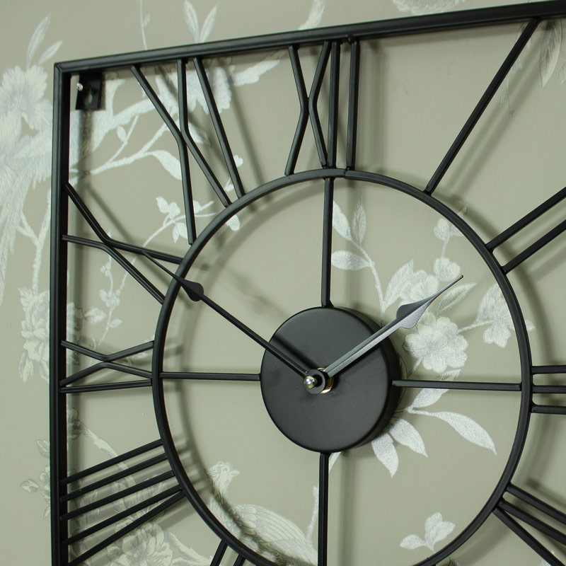 Large Black Iron Square Skeleton Wall Clock Melody Maison