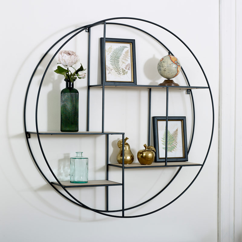 Large Black Metal Wood Round Wall Shelf