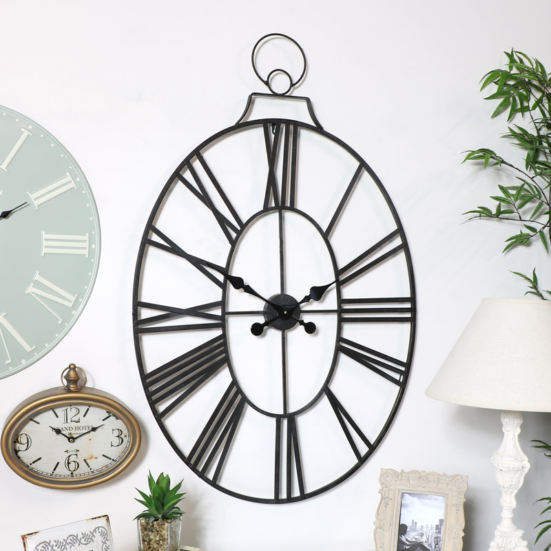Large Black Oval Skeleton Clock