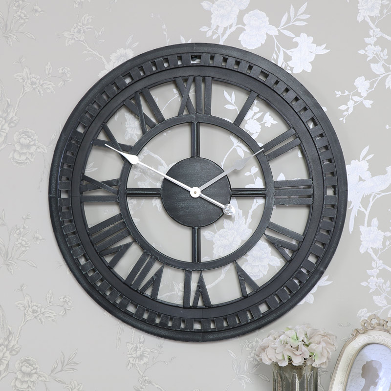 Large black metal skeleton wall clock melody maison - Large roman numeral wall clocks ...