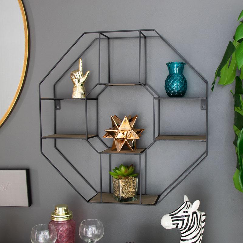 Large Black Wood & Metal Wall Shelf
