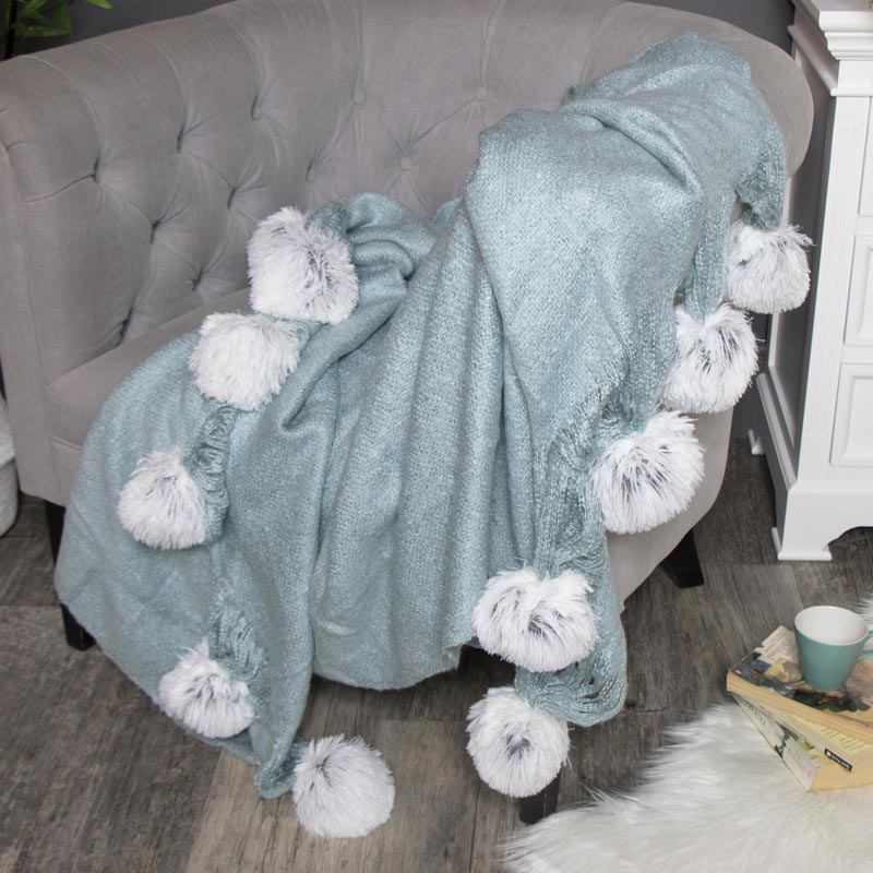 Large Blue Knit Throw Blanket With Pompoms
